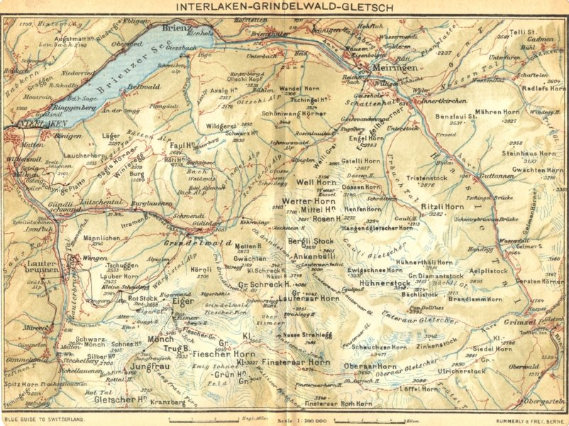 Associate Product SWITZERLAND. Interlaken-Grindelwald-Gletsch 1930 old vintage map plan chart