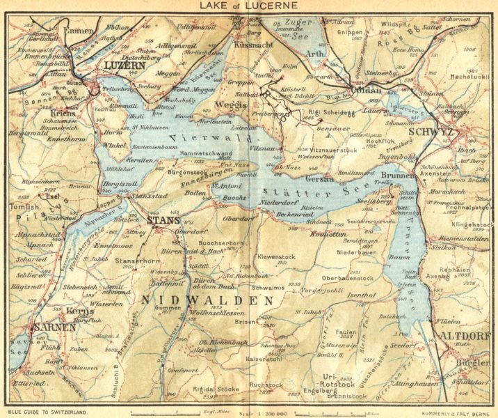 Associate Product SWITZERLAND. Lake of Lucerne 1930 old vintage map plan chart