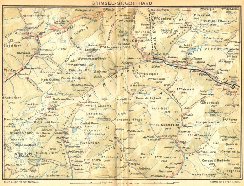 Associate Product SWITZERLAND. Grimsel-St Gotthard 1930 old vintage map plan chart