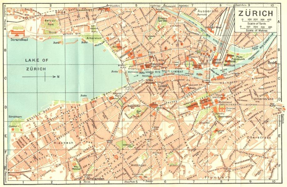 Associate Product SWITZERLAND. Zurich 1930 old vintage map plan chart