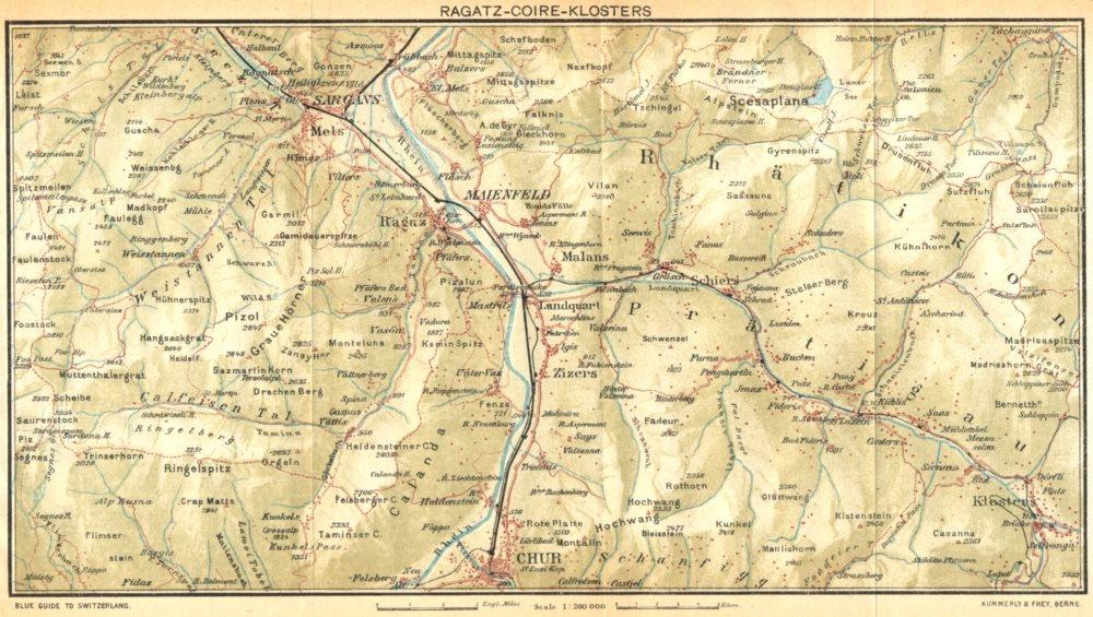 Associate Product SWITZERLAND. Ragatz-Coire-Klosters 1930 old vintage map plan chart