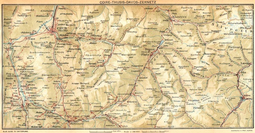 Associate Product SWITZERLAND. Coire-Thusis-Davos-Zernetz 1930 old vintage map plan chart