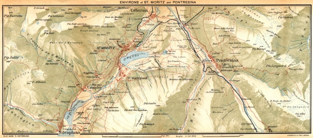 Associate Product SWITZERLAND. Environs of St Moritz and Pontresina 1930 old vintage map chart