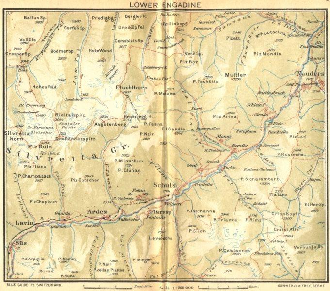 Associate Product SWITZERLAND. Lower Engadin 1930 old vintage map plan chart