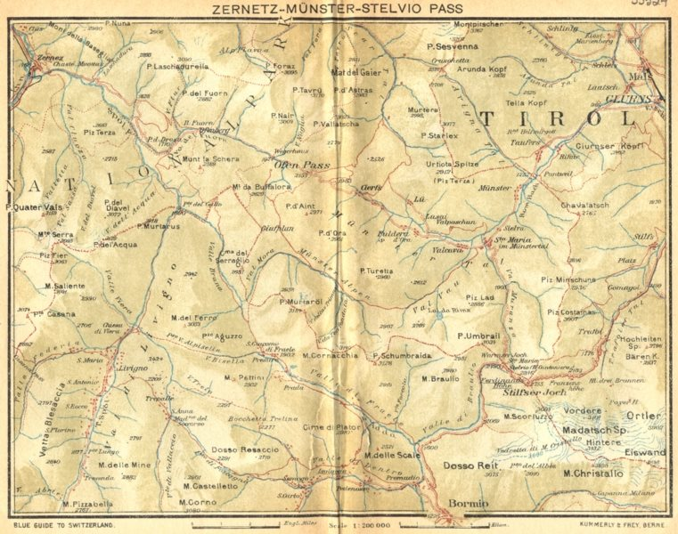 Associate Product SWITZERLAND. Zernetz-Munster-Stelvio Pass 1930 old vintage map plan chart