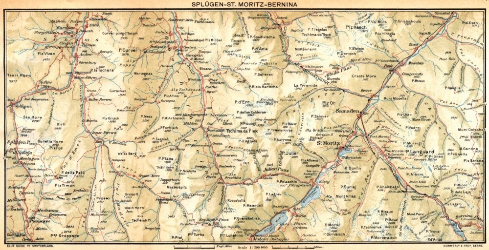 Associate Product SWITZERLAND. Splugen-St Moritz-Bernina 1930 old vintage map plan chart