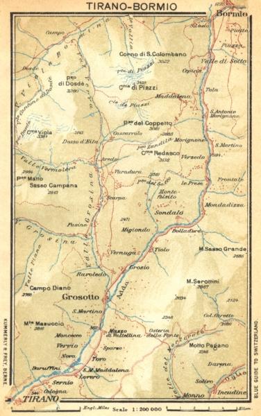 Associate Product ITALY. Tirano-Bormio 1930 old vintage map plan chart