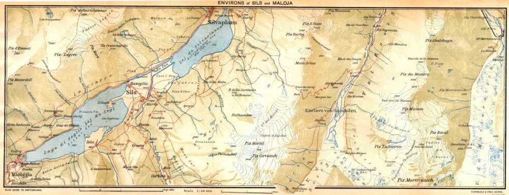 Associate Product SWITZERLAND. Environs of Sils and Maloja 1930 old vintage map plan chart