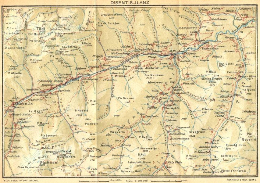 Associate Product SWITZERLAND. Disentis-Ilanz 1930 old vintage map plan chart