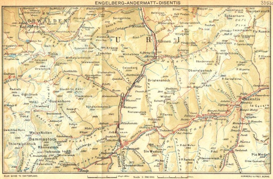 Associate Product SWITZERLAND. Engelberg-Andermatt-Disentis 1930 old vintage map plan chart