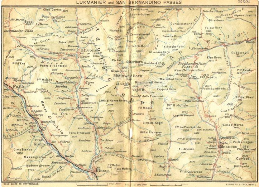 Associate Product SWITZERLAND. Lukmanier and San Bernardino Passes 1930 old vintage map chart