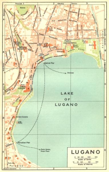 SWITZERLAND. Lugano 1930 old vintage map plan chart