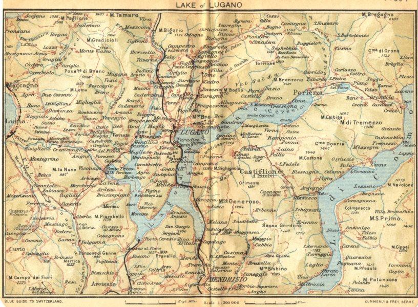 Associate Product SWITZERLAND. Lake of Lugano 1930 old vintage map plan chart