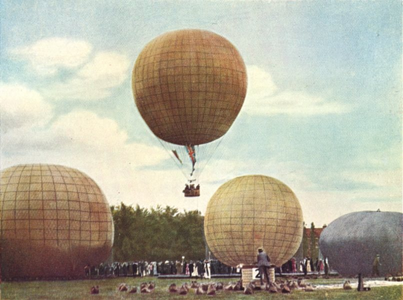 LONDON. Balloons at Ranelagh in stages of inflation before a race 1930 print