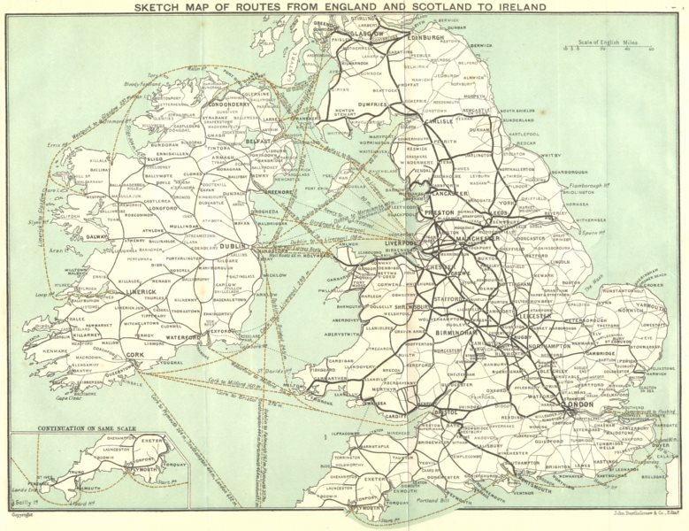 BRITISH ISLES. Sketch map of routes from England & Scotland to Ireland 1906