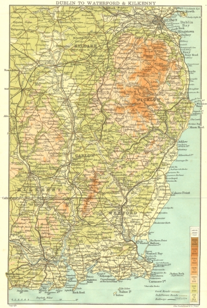 Associate Product IRELAND. Dublin to Waterford and Kilkenny 1906 old antique map plan chart