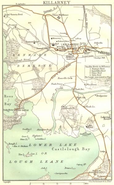 Associate Product IRELAND. Killarney 1906 old antique vintage map plan chart