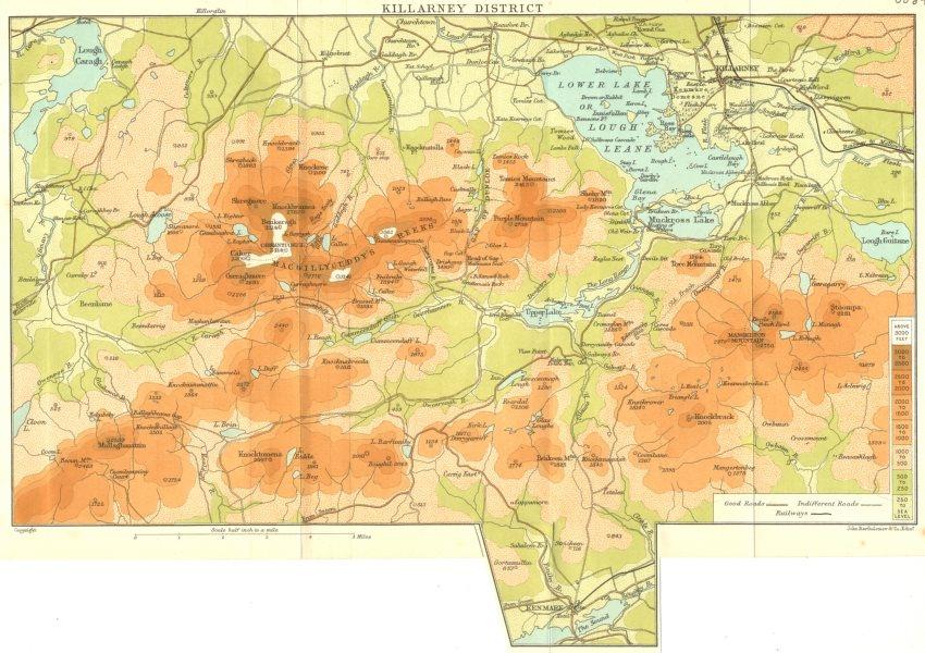 Associate Product IRELAND. Killarney District 1906 old antique vintage map plan chart