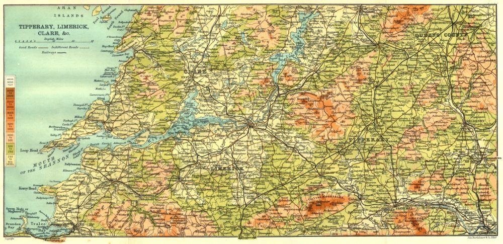 Associate Product IRELAND. Tipperary, Limerick, Clare & c 1906 old antique map plan chart