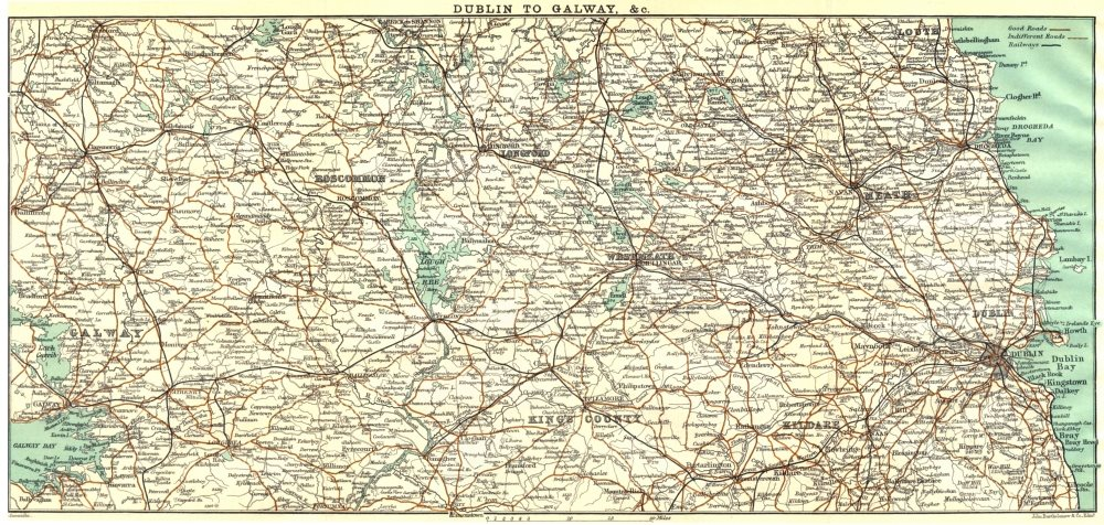 Associate Product IRELAND. Dublin to Galway & c 1906 old antique vintage map plan chart