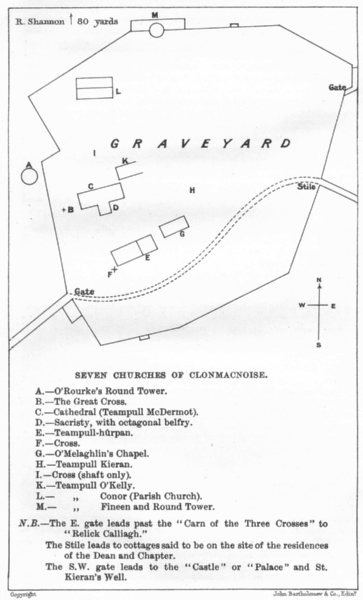 Associate Product IRELAND. Seven Churches of Clonmacnoise 1906 old antique map plan chart
