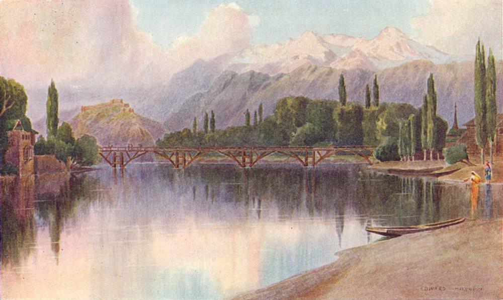 KASHMIR. Approach to Srinagar 1924 old vintage print picture