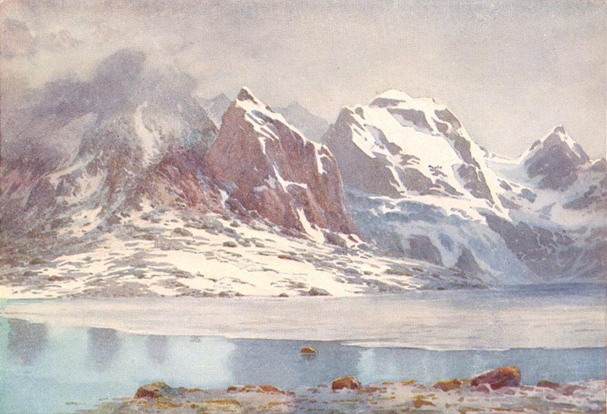 Associate Product KASHMIR. The frozen lake, Gangabal 1924 old vintage print picture