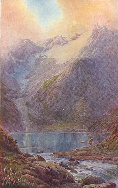 Associate Product KASHMIR. Lake Shisha Nag at sunset 1924 old vintage print picture