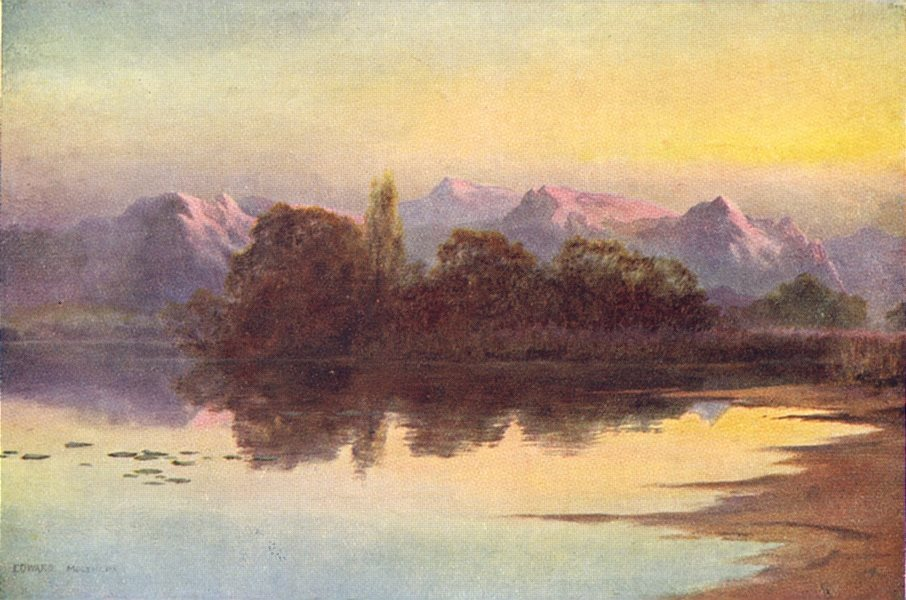 Associate Product KASHMIR. Sunset on the Wular Lake 1924 old vintage print picture