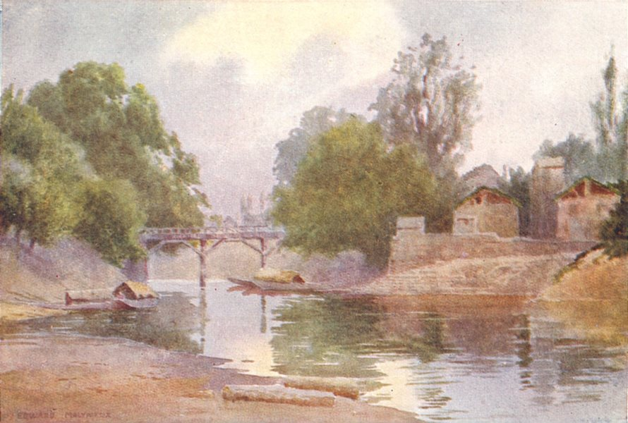 Associate Product KASHMIR. Bridge of Burbur Shah, Chenar Bagh, Srinagar 1924 old vintage print