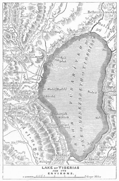 Associate Product ISRAEL. Lake of Tiberias and Its Environs 1883 old antique map plan chart
