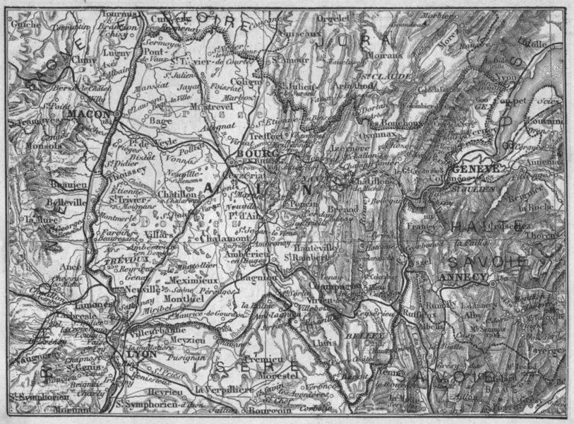 Associate Product AIN. Ain 1878 old antique vintage map plan chart