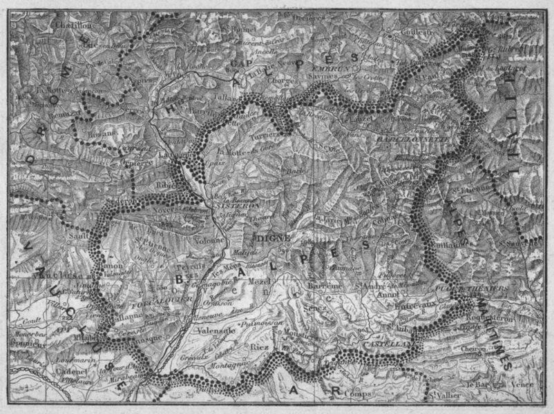 ALPES-DE-HAUTE-PROVENCE. Alpes(Basses-) 1878 old antique map plan chart