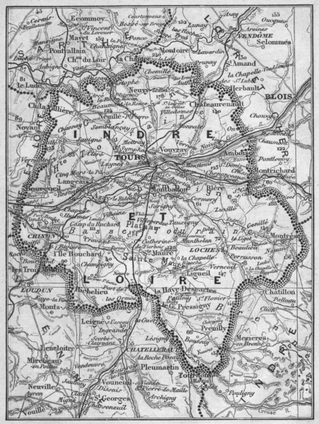 INDRE-ET-LOIRE. Indre-et-Loire 1878 old antique vintage map plan chart