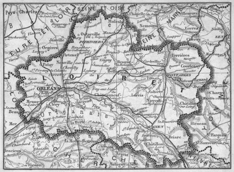 Associate Product LOIRET. Loiret 1878 old antique vintage map plan chart