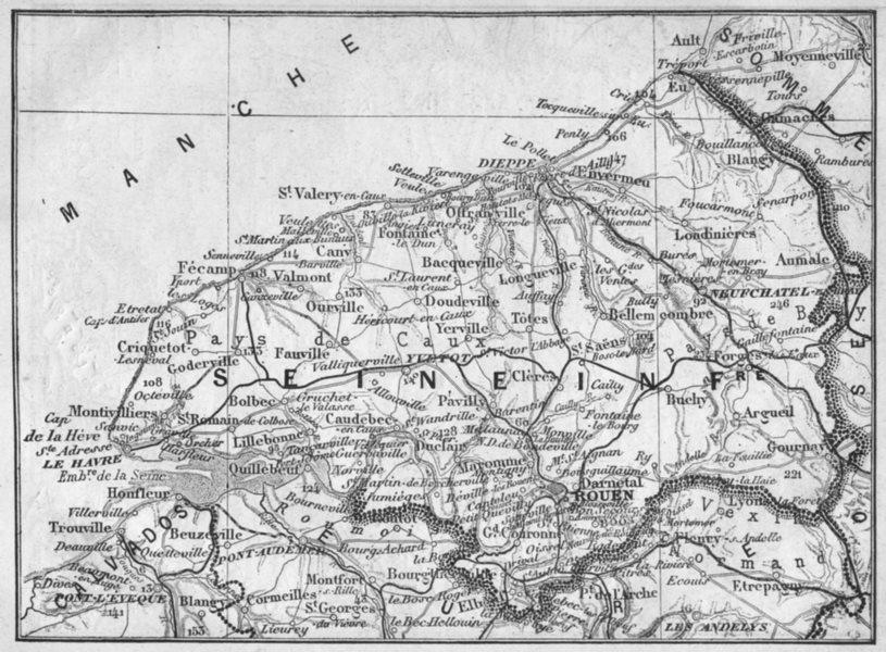 SEINE-MARITIME. Seine-Inferieure 1878 old antique vintage map plan chart