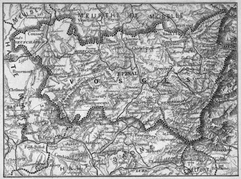 Associate Product VOSGES. Vosges 1878 old antique vintage map plan chart