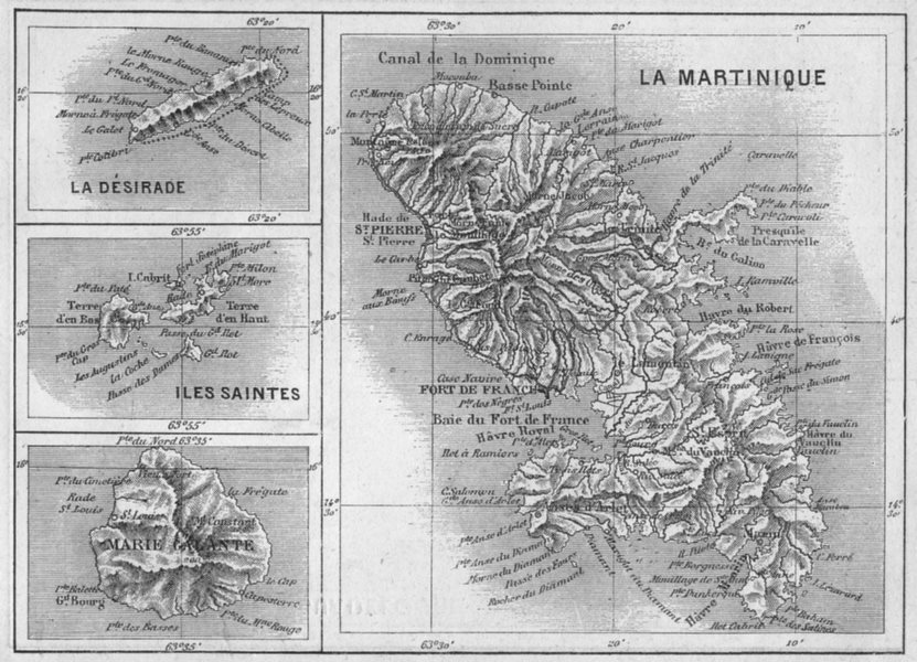 Associate Product WEST INDIES. Martinique, Marie-Galante, Desirade, Iles Saintes 1878 old map
