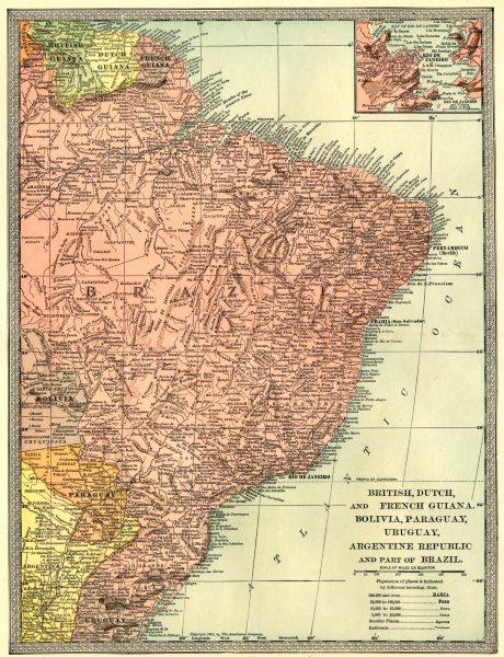 BRAZIL & THE GUIANAS. British Dutch French Guiana.Rio De Janeiro 1907 old map