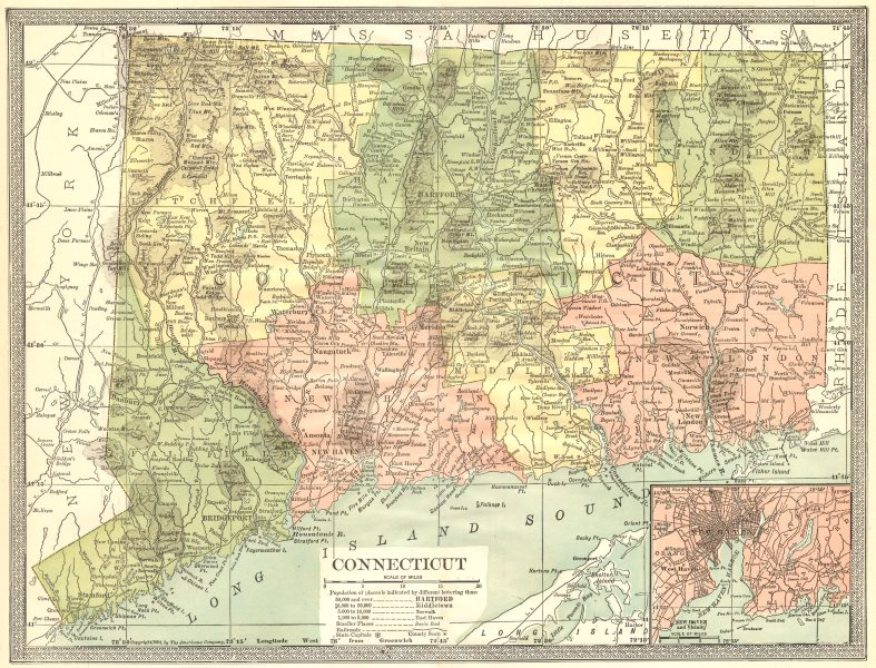 CONNECTICUT state map. New Haven city plan 1907 old antique chart