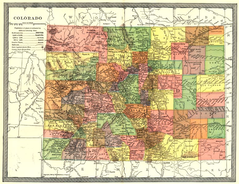 Associate Product COLORADO state map. Counties 1907 old antique vintage plan chart