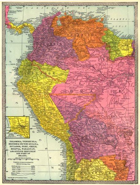 Associate Product NW SOUTH AMERICA. Colombia Venezuela Ecuador Peru Bolivia Brazil. Lima 1907 map