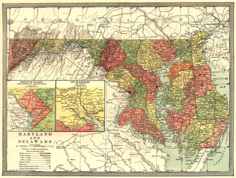 Associate Product MARYLAND & DELAWARE state map. District of Columbia. Baltimore environs 1907