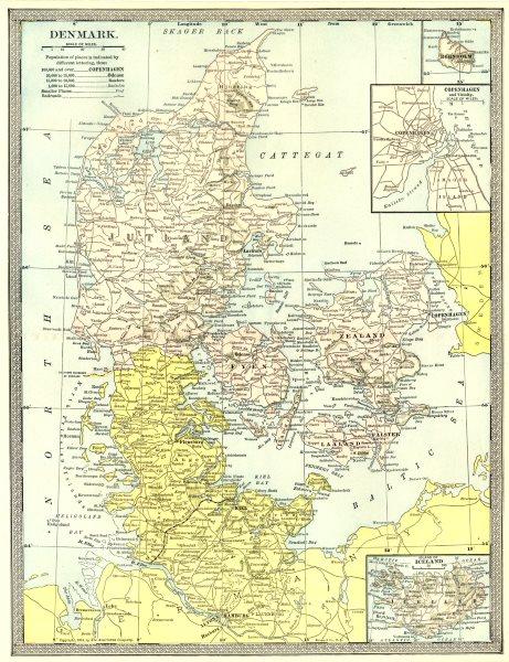 Associate Product DENMARK. Bornholm. Copenhagen environs. Iceland 1907 old antique map chart