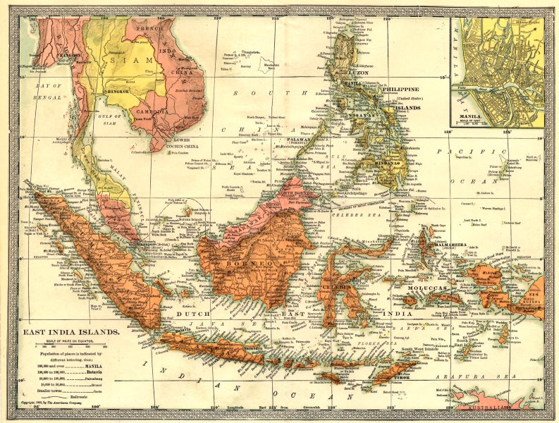 Associate Product EAST INDIES. East India Islands. Indonesia Philippines. Manila environs 1907 map