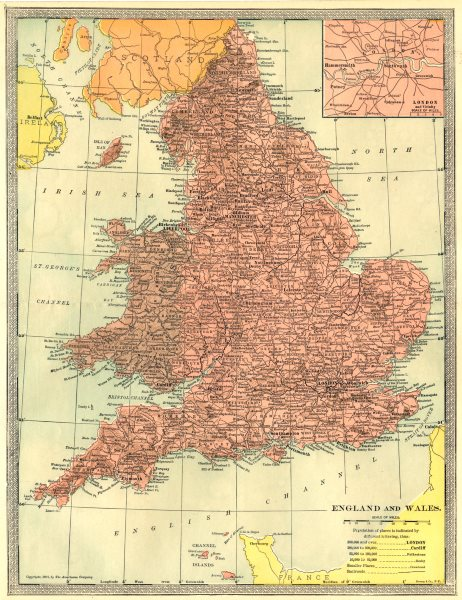 Associate Product England and Wales. Inset Map of London and Vicinity 1907 old antique chart