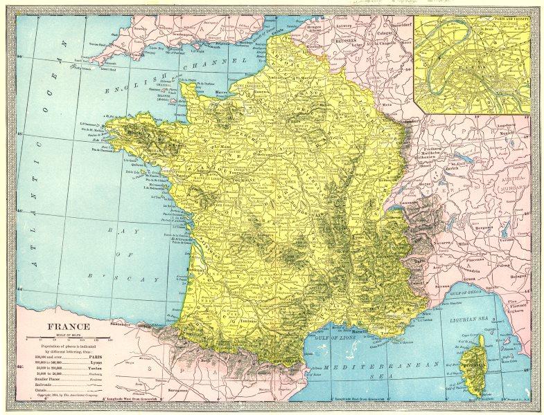 FRANCE without Alsace & Lorraine. Paris environs 1907 old antique map chart