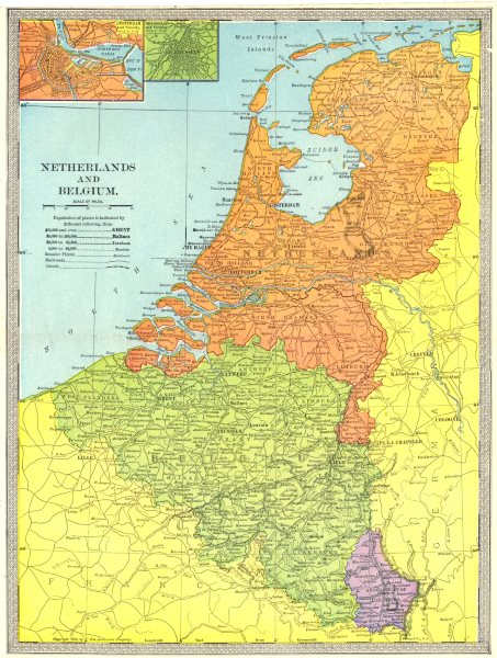 Associate Product NETHERLANDS BELGIUM LUXEMBOURG. Amsterdam & Brussels inset 1907 old map