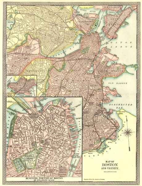 Details about BOSTON town/city plan. Downtown CBD. Breed\'s Island.  Massachusetts 1907 map