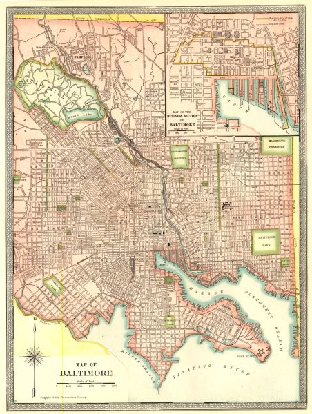 Associate Product BALTIMORE town/city plan. CBD. Maryland 1907 old antique map chart